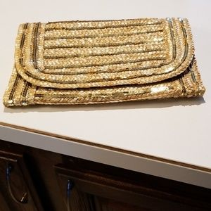 Handbags - Straw Clutch with gold sequins